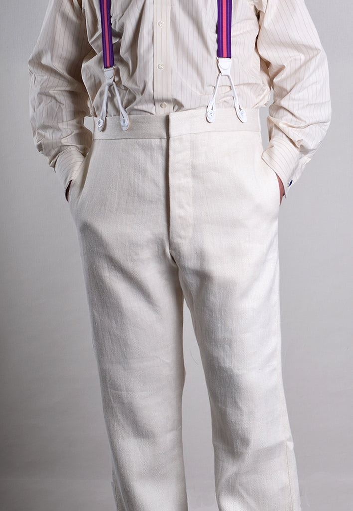 Reduced Heavyweight Ivory Herringbone Linen Trousers (TR922) - 36""