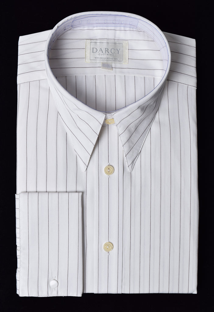 Replica Striped Fabric Spearpoint Collar Shirt | Permanent Stock (SH190R) - Colour 64 - Narrow Ticking Stripe