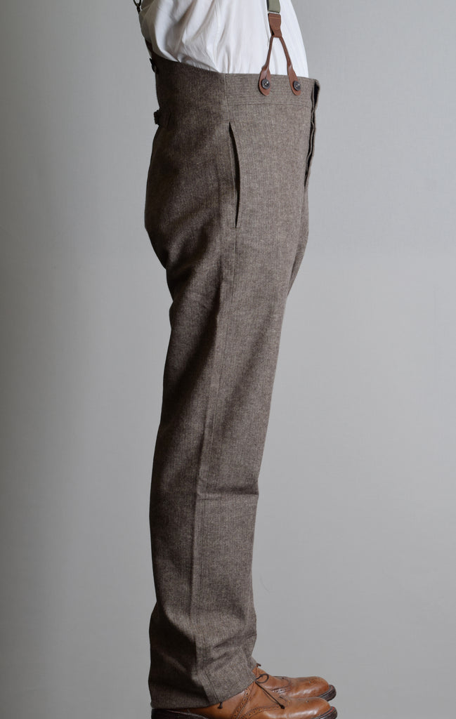 Brown Brushed Cotton Herringbone Fishtail Back Trousers (TR400)