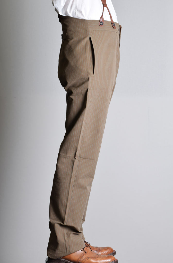 Olive Stripe Cotton Fishtail Back Trousers (TR500)