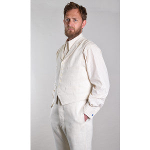 Heavyweight Ivory Herringbone Linen Waistcoat (WC922)