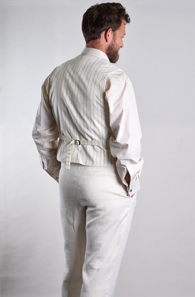 Heavyweight Ivory Herringbone Linen Trousers (TR922)