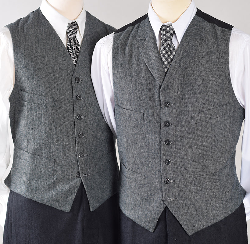 Grey Brushed Cotton Herringbone Waistcoat (WC300)