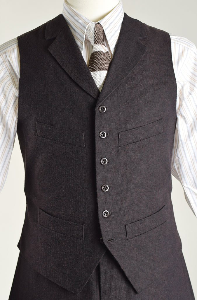 Dark Brown Brushed Cotton Herringbone Waistcoat (WC420)