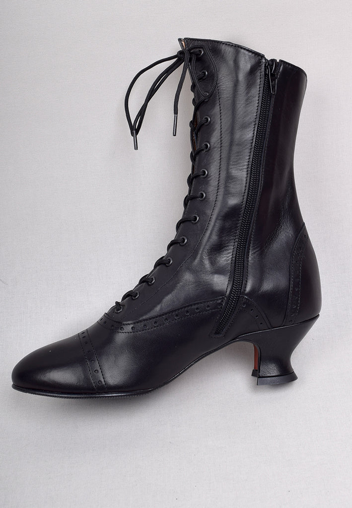 Victorian Side Zip Leather Boots (SP1910Z)