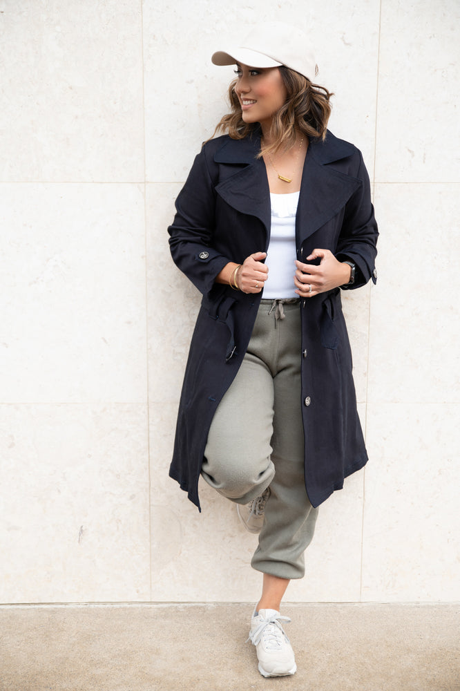 'Benison' Indigo Denim Trench Coat