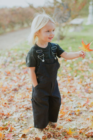 Toddler 'Benison' Dark Wash Denim Coveralls