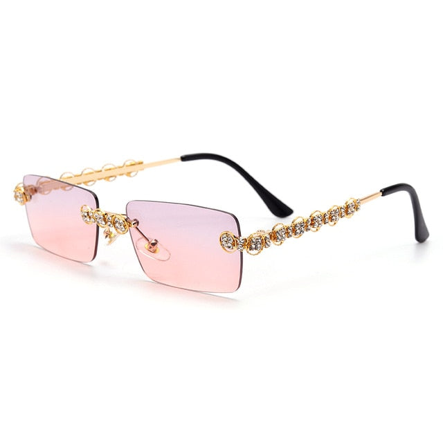 Rimless Diamond Sunglasses