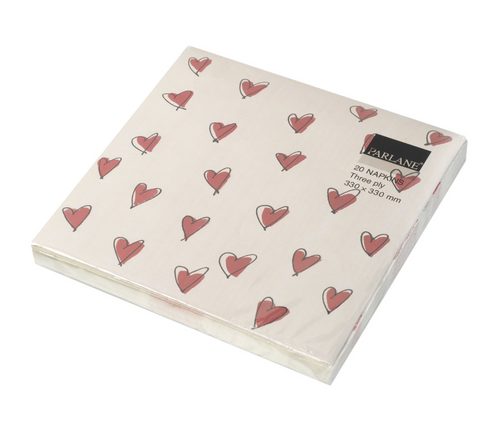 NAPKIN HEARTS 330MM SQ 3 PLY BEIGE/RED