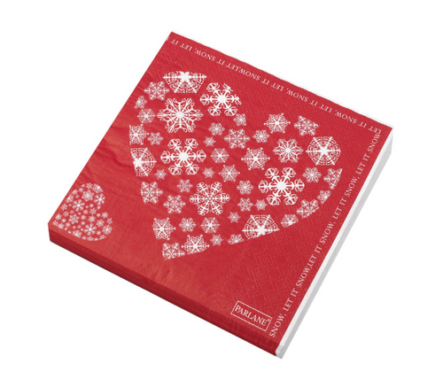NAPKIN LET IT SNOW 330MM SQ 3 PLY RD/WH