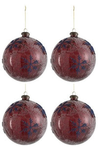 XMAS Ball Snowflake Glass Blue/Red