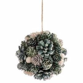 Hanging Ball Pine Cones Green & White