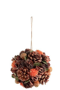 Hanging Ball Pine Cones Rust & Green
