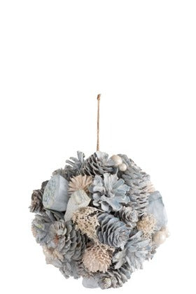 Hanging Ball Pine Cones Blue & White