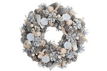 Load image into Gallery viewer, WREATH PINE CONES BLUE/WHITE