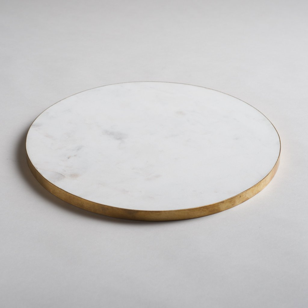 Brass Edged Marble Serving Board - White