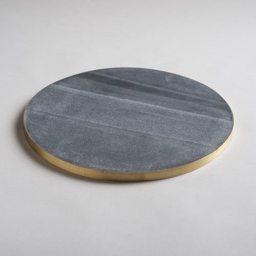 Brass Edged Marble Serving Board - Gray