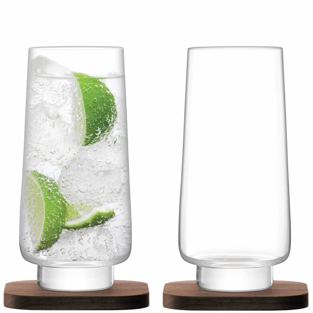 City Bar Long Drink Glass 400ml Clear & Walnut Coaster S/2