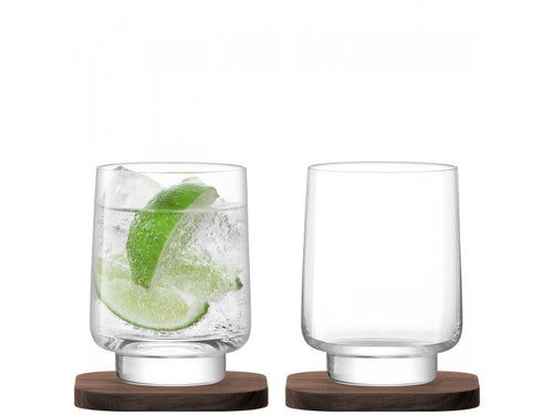 City Bar Tumbler 280ml Clear on Walnut Coaster S/2
