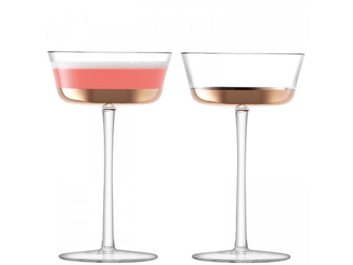 Edge Champagne Saucer 210ml Rose Gold S/2