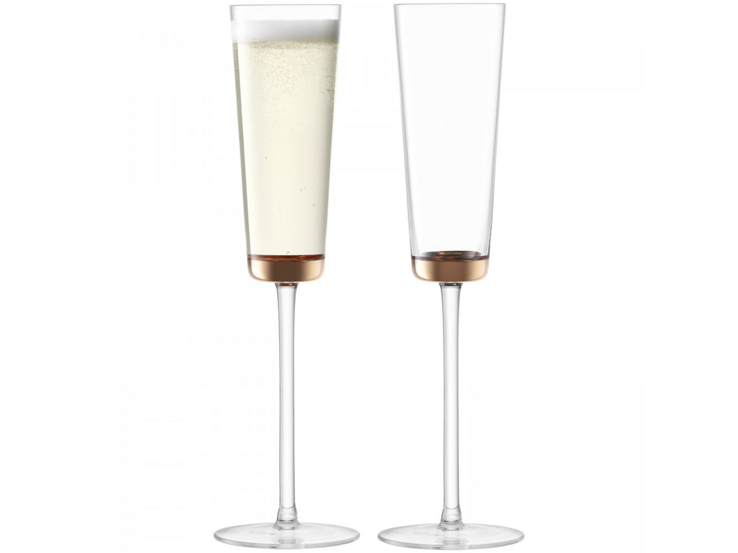 Edge Champagne Flute 160ml Rose Gold S/2