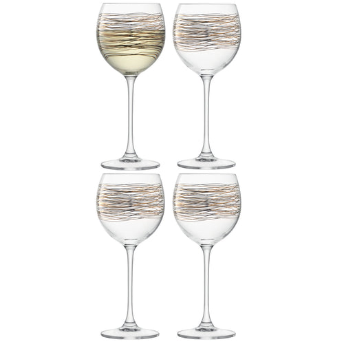 Cocoon Wine Glass 400ml Gold/Platinum S/4