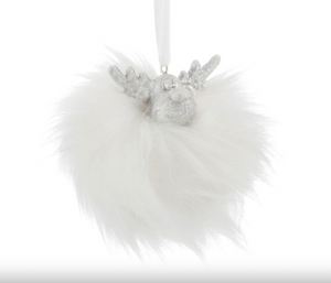 Hanging Reindeer Furr Poly White/Silver