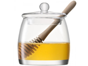 Serve Honey Pot & Oak Dipper H12.5cm