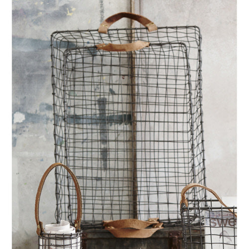 Leather Handle Wire Tray Basket Large