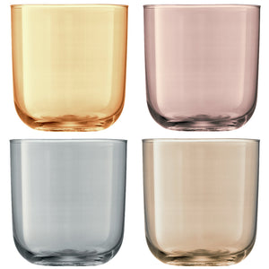 Polka Tumbler 420ml Metallics Assorted S/4