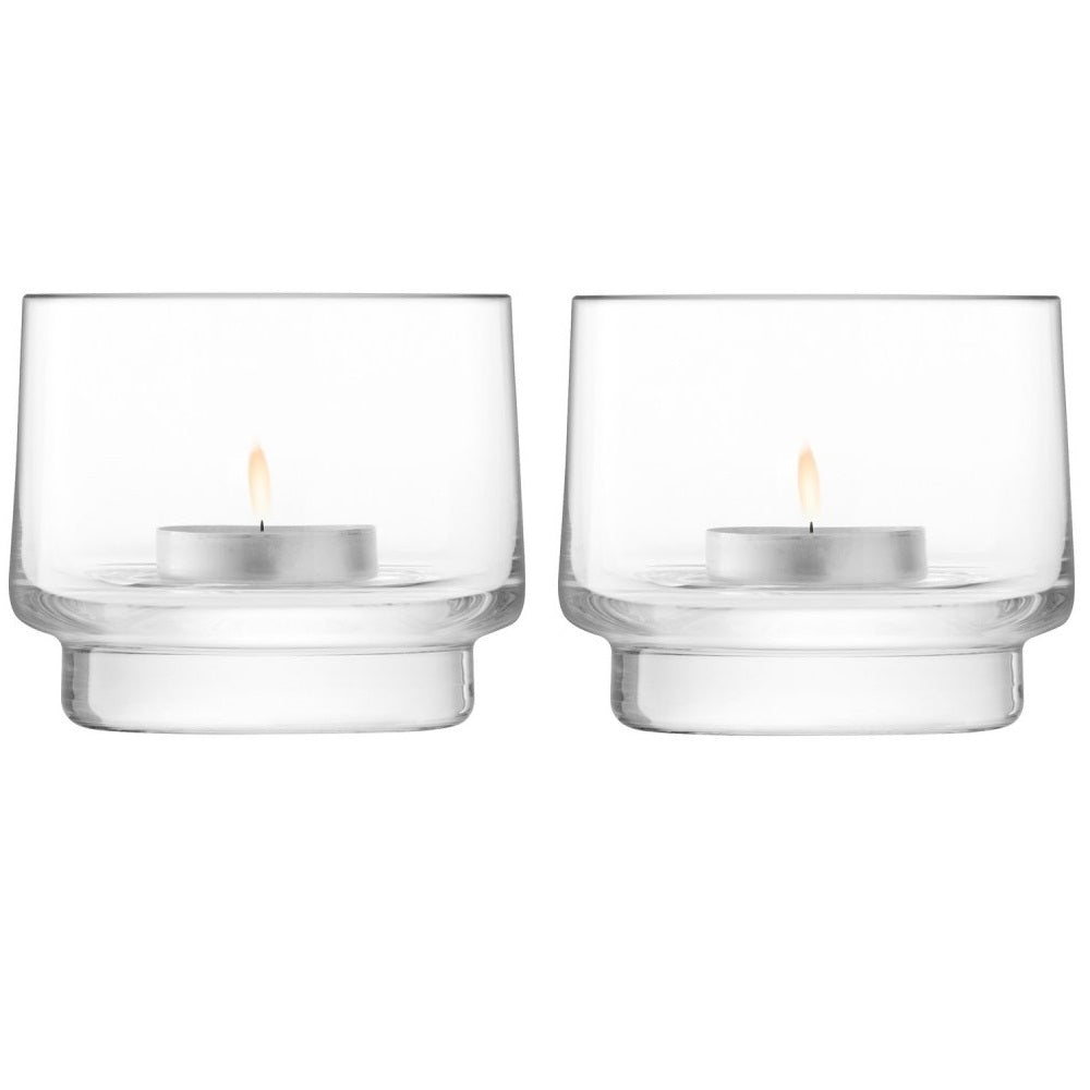 City Bar Tealight Holder H7cm Clear S/2
