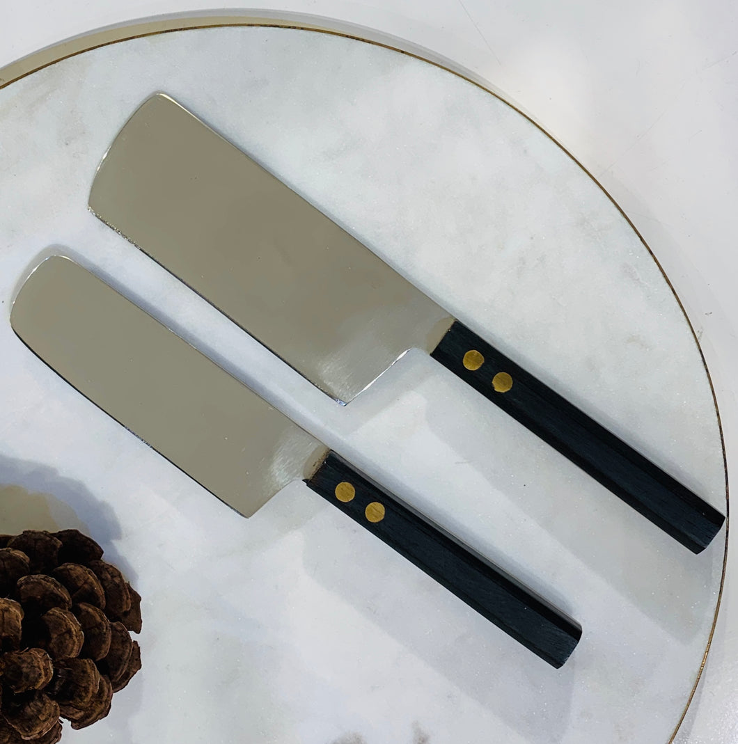 Ebonized Rosewood & Brass Cheese Knives S/2