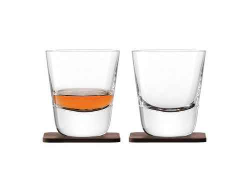 Whisky Arran Tumbler 250ml Clear & Walnut Coaster S/2