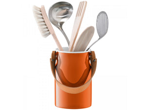 Utility Utensil Pot & Leather Handle