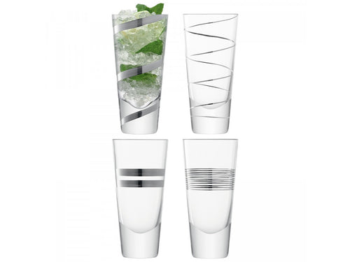 Gatsby Long Mixer Glass 315ml Assorted Platinum S/4