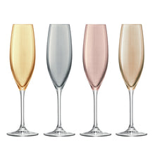 Load image into Gallery viewer, Polka Champagne Flute 225ml Metallics Assorted S/4