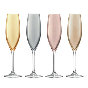 Polka Champagne Flute 225ml Metallics Assorted S/4