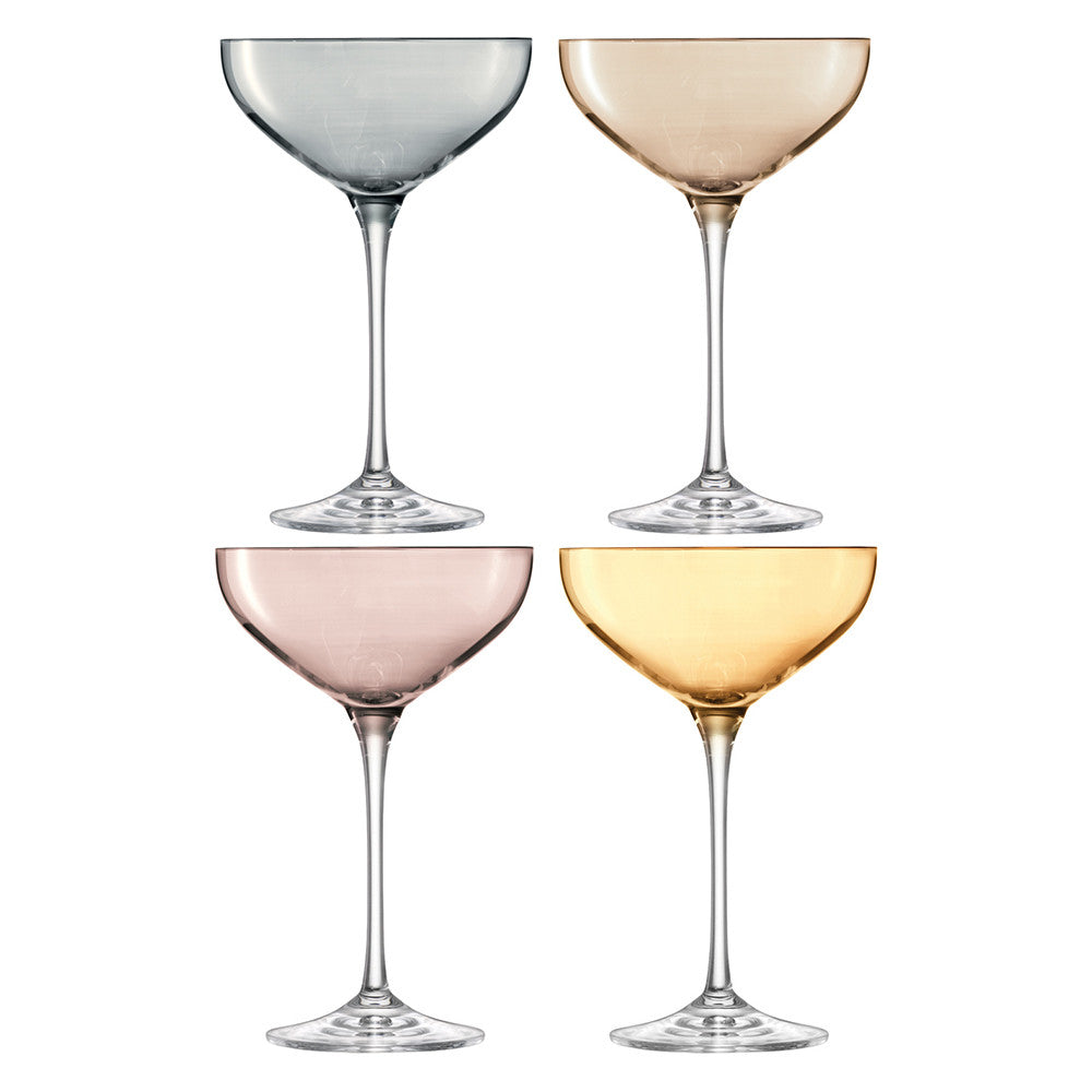 Polka Champagne Saucer 390ml Metallics Assorted S/4