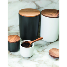 Load image into Gallery viewer, Stoneware Container with Acacia Lid Small Black