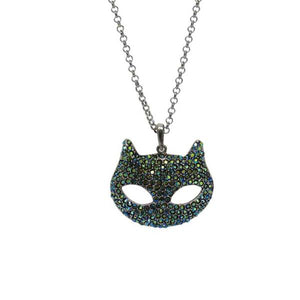 Cat mask blue crystal necklace
