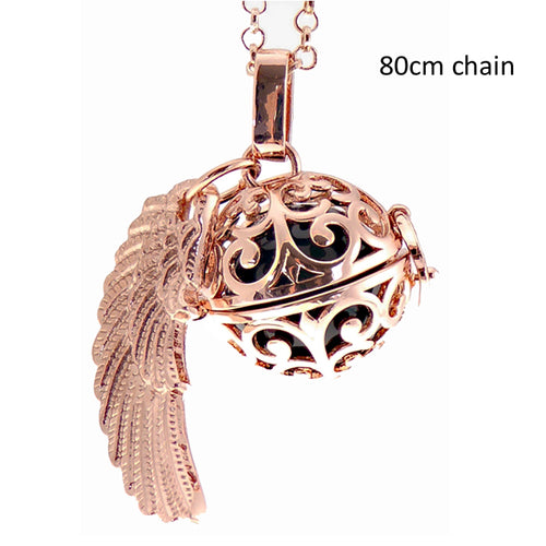 Angel Caller curl locket with wings rose gold