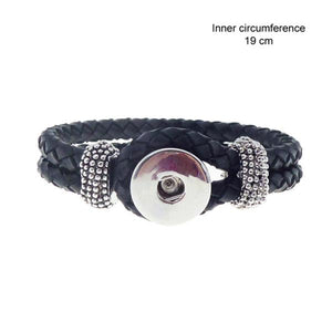 Snap black braid bracelet 19 cm