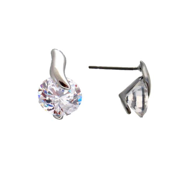 Clear CZ with silver twist earrings