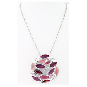 Burgundy/pink leaves necklace