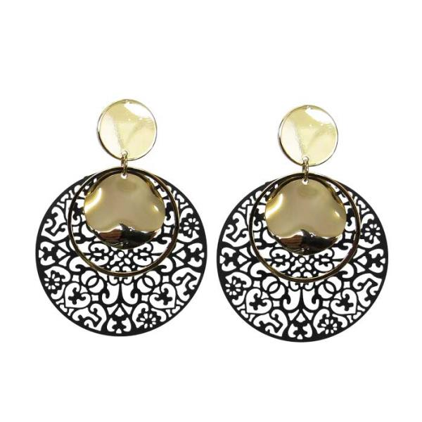 Gold and black lattice earrings