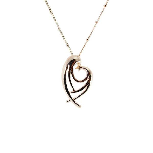 Angel wings rose gold heart necklace