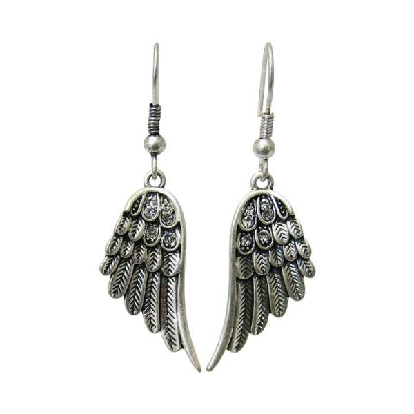 Antique silver angel wings earrings