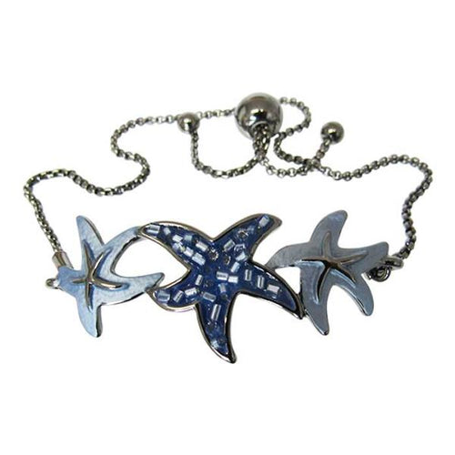 Starfish on gunmetal bracelet
