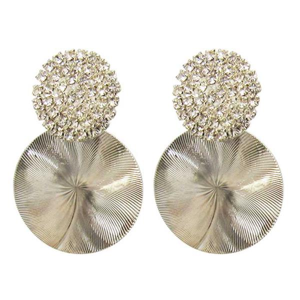 Silver disc with diamante earrings