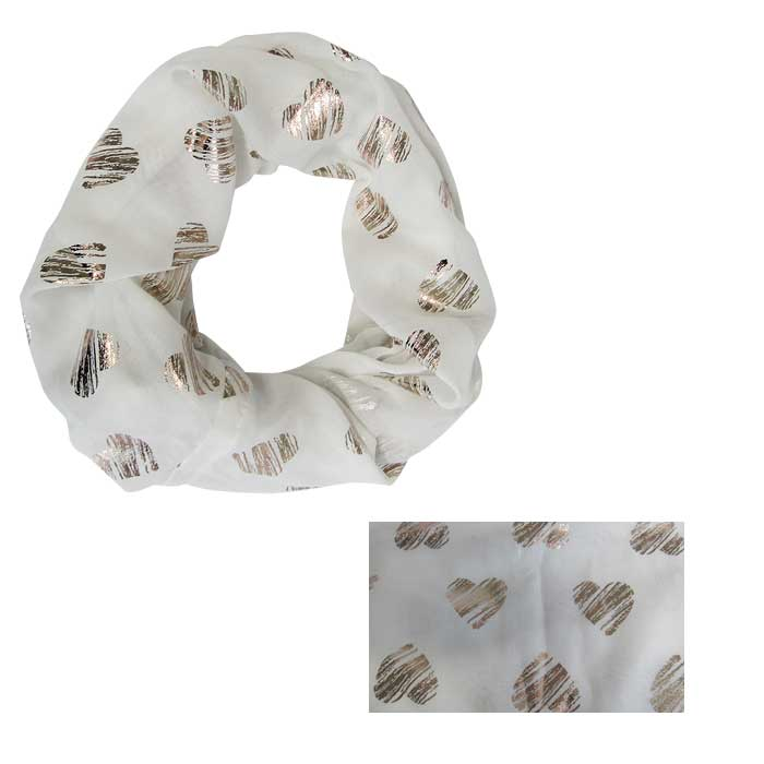 White snood with gold hearts